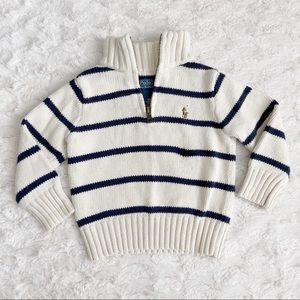 Ralph Lauren Quarter-Zip Striped Sweater